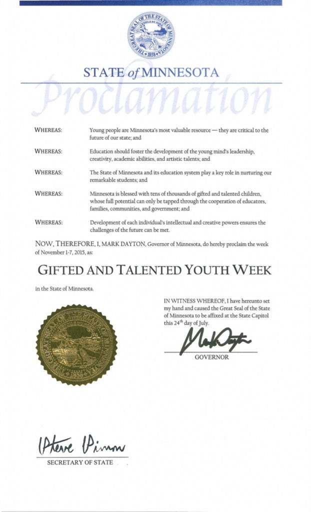 Governor Mark Dayton proclaims Gifted & Talented Youth Week 2015